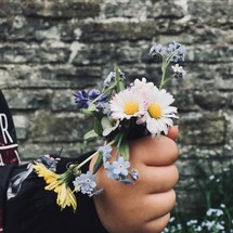 hand holding picked flowers