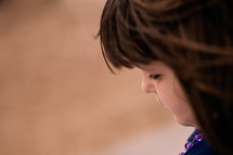 side profile of a little girls face
