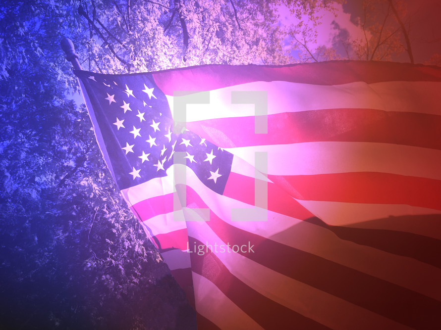 American flag and sunlight