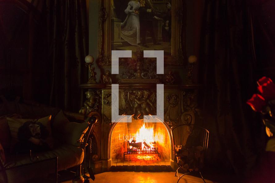 fire in a fireplace in a castle