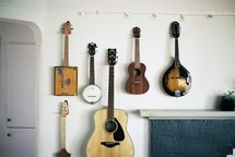 musical instruments on a wall
