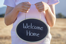 Welcome Home Written on Chalkboard