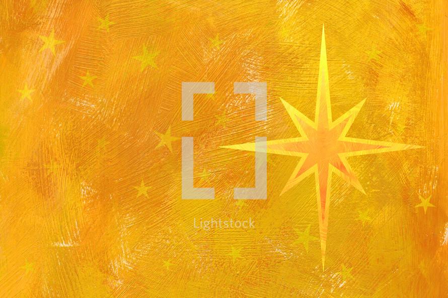 Christmas star on yellow