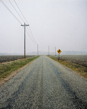power lines and a rural road in Indiana