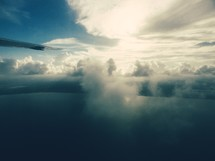 aerial view of clouds over water