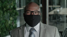 African American man in a face mask