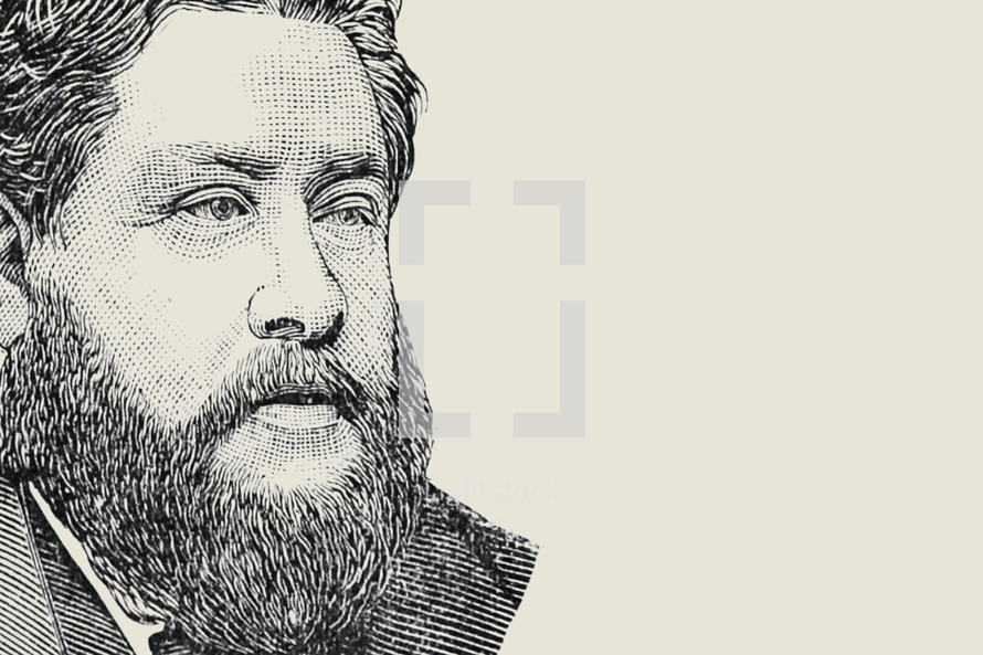 A drawing of Charles Spurgeon.