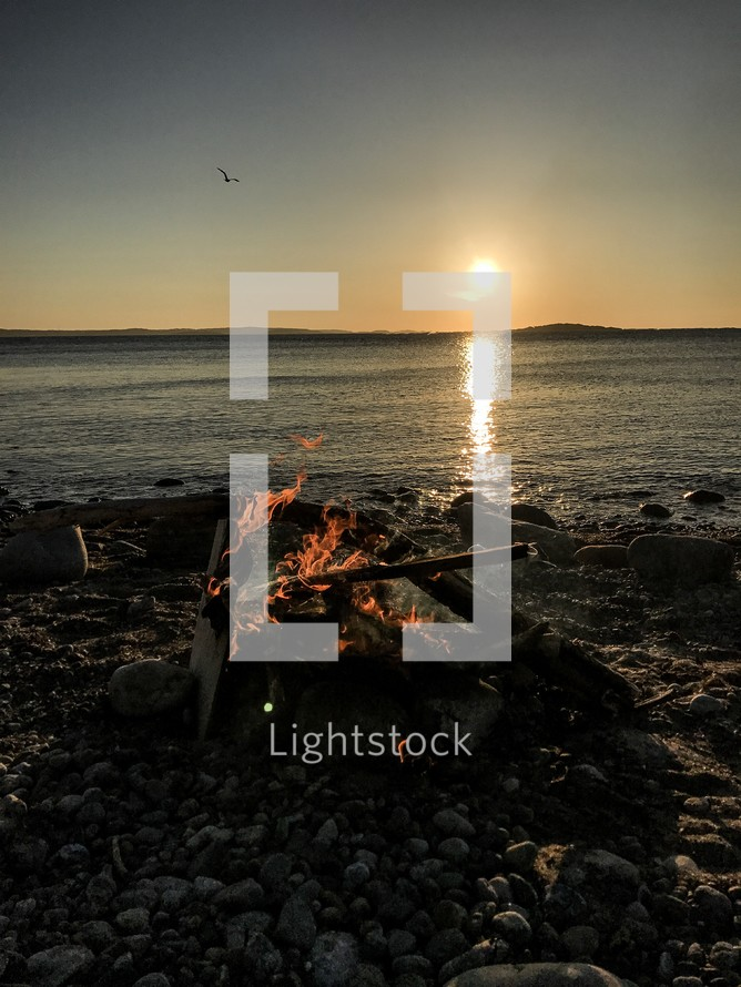 campfire on a beach in Koster Archipelago, Sweden