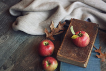 vintage books, blanket, and apples