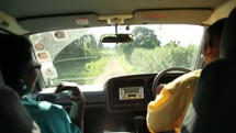 Driving down a bumpy road in Kenya