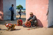 monkeys on a leash in India
