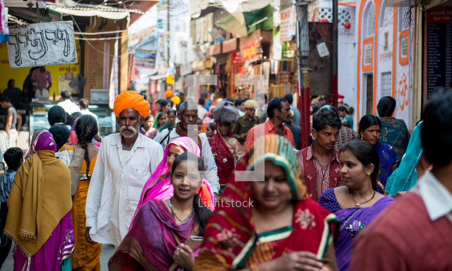 crowds of people in the streets in India