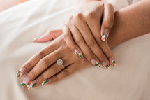 bride with fancy finger nails