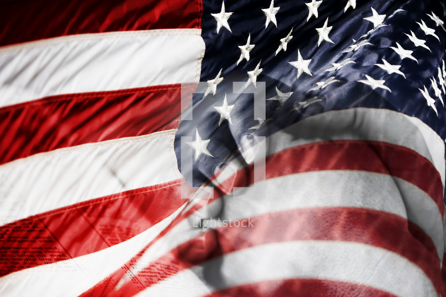 American Flag with Praying Hands - Blended Image