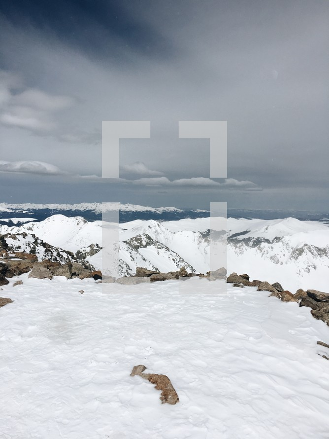 snow covered mountaintops