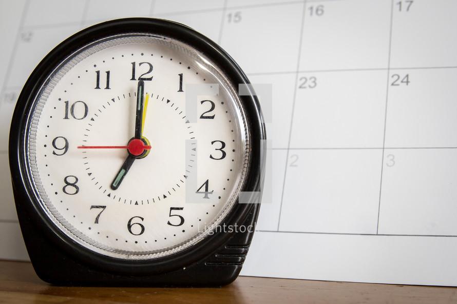 alarm clock and calendar