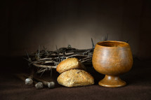 communion, nails, crown of thorns, wine, bread, Good Friday, crown, chalice