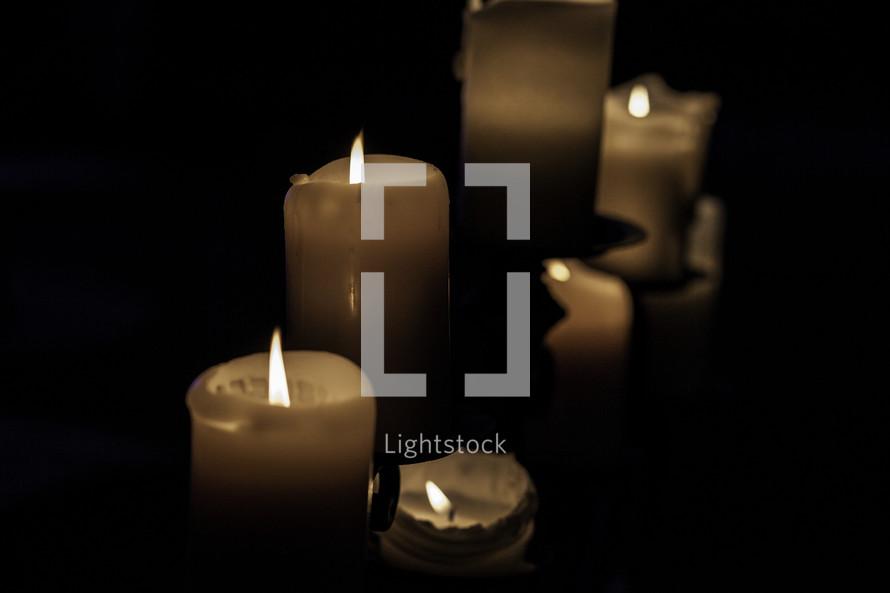 wax candles burning