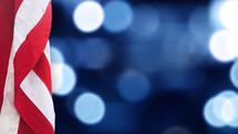 American flag and bokeh lights