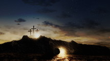 Three crosses on a hill with the Lord Jesus tomb empty and bright. Christ resurrection concept. Easter background with lights and clouds on sky. Seamless looping 4k
