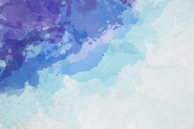 A colorful blue and violet painted watercolor background.