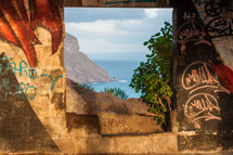 view of a shore through a doorway in Teneriffa