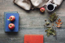 apples and vintage books