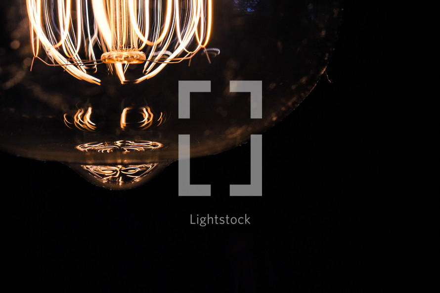 glowing elements in an Edison bulb