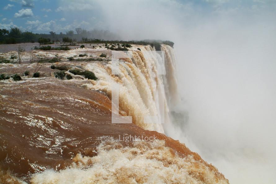 Powerful rushing waterfall