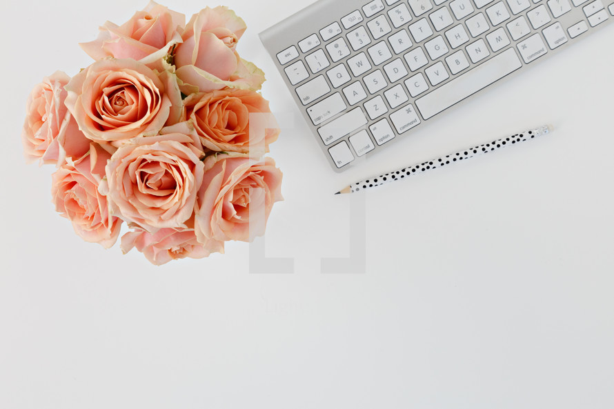 computer keyboard, pencils, and peach roses on a desk
