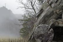 Rainy Day Cross and Tombstone Scene