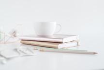 mint, winter, desk, home office, reading glasses, journal, metallic, tape dispenser