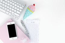 keyboard, to do list, cellphone, pen, ice cream cone plush