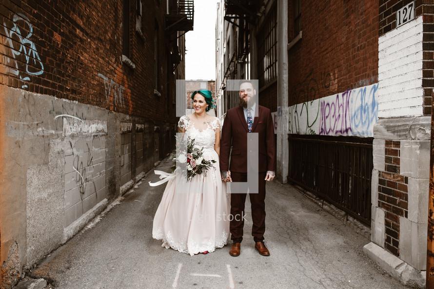 hipster bride and groom