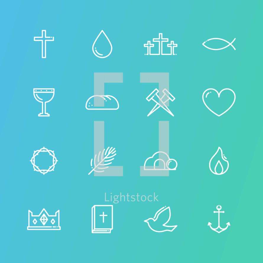 holy week icon set