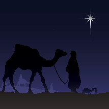 camels and wiseman and the star of Bethlehem