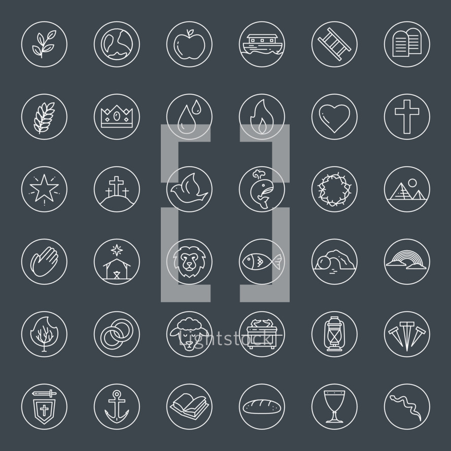 biblical symbols icon set