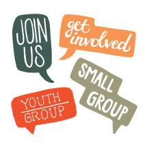 Join us, youth group, words, small group, group, talk bubbles, thought bubbles, get involved, church groups, icons