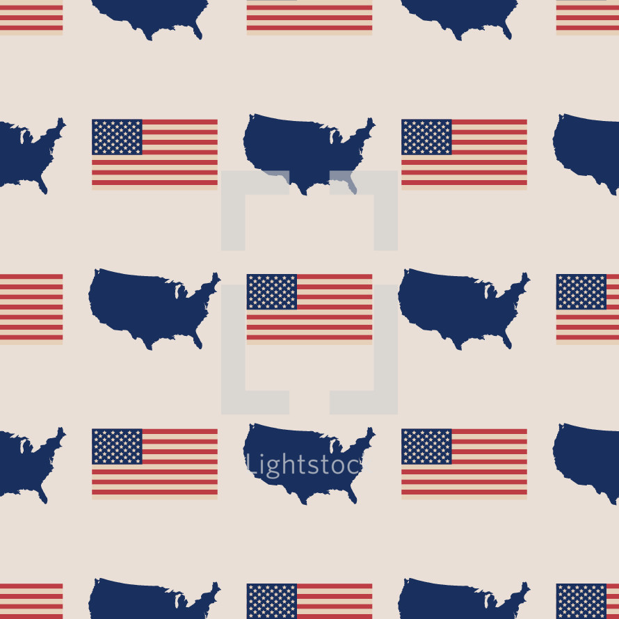 American flag and map of the United states pattern