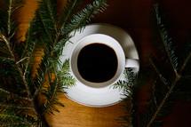 pine and coffee mug