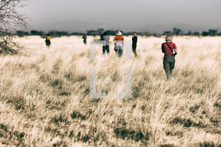 tourists exploring a field