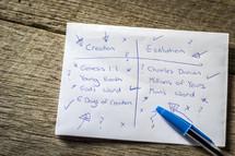 creationism vs evolution list