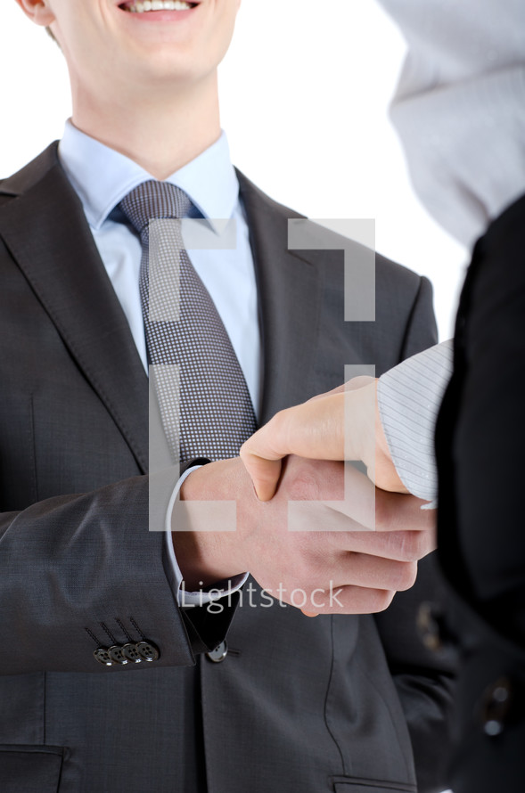 Colleagues shaking hands.