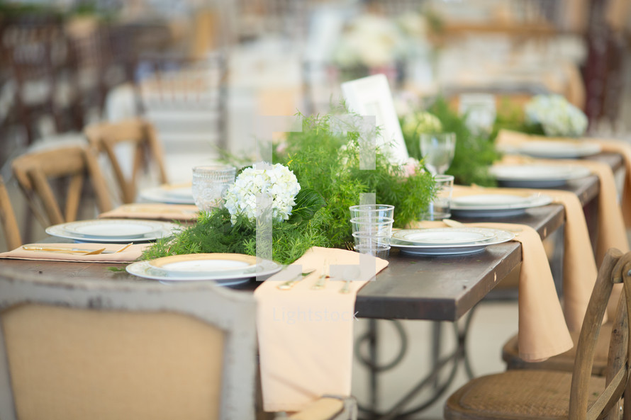 a set table at a wedding reception