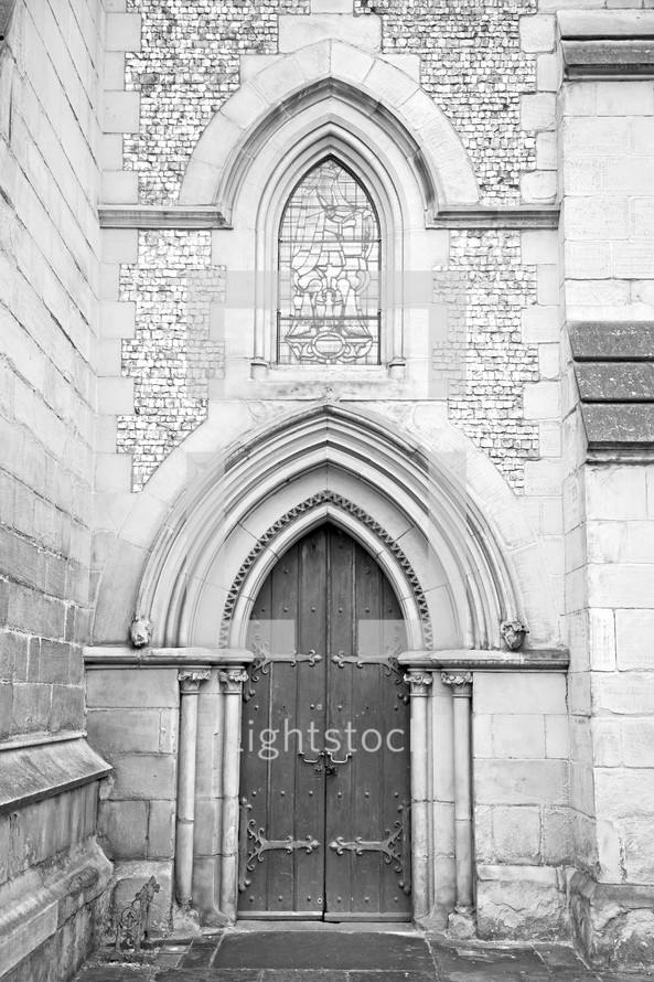 door on a church in South Wark London England