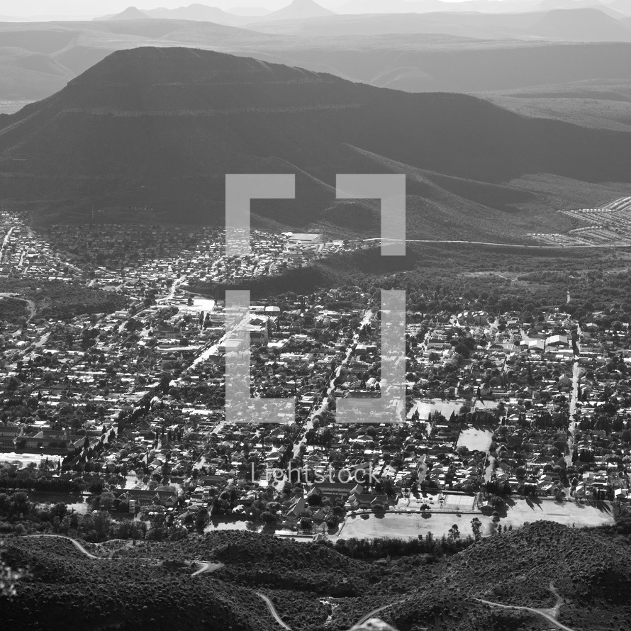 view of a town in South Africa from a mountain