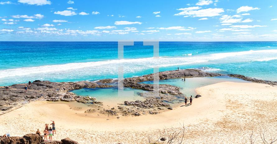 tide pools on a beach