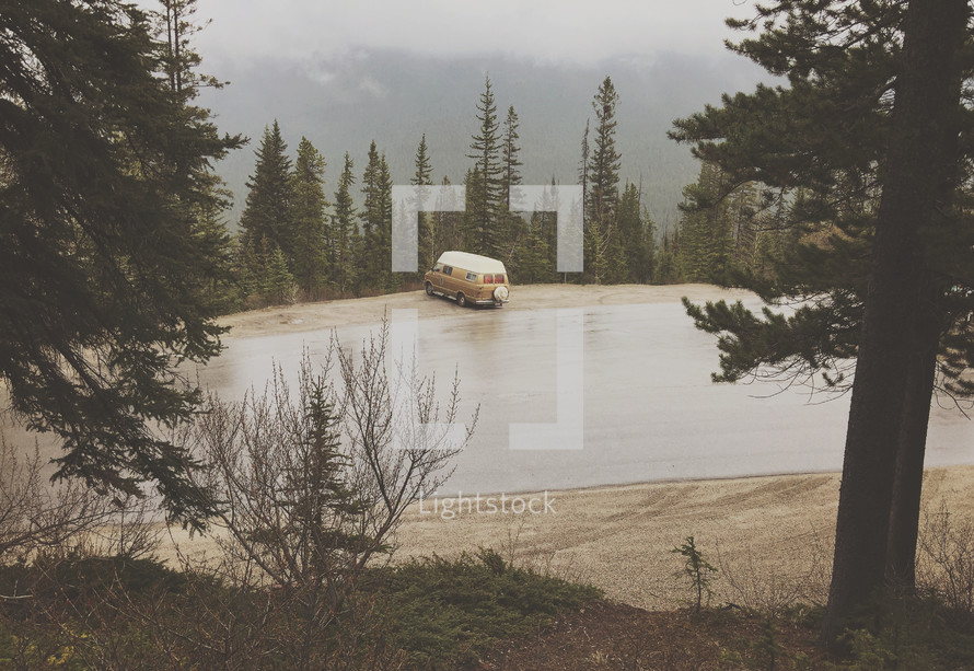 an  iPhone capture of this little van camped on a lonely road