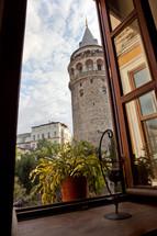 Galata Tower through cafe window