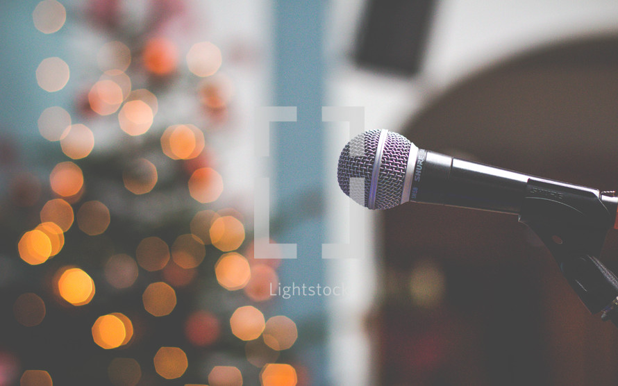 microphone and lights on a Christmas tree